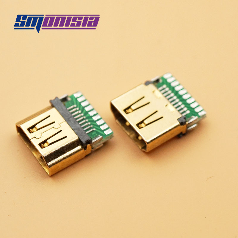 Smonisia 10PCS HDMI A Type PCB Board Bond Wires Seals HD HDMI Socket Connector Female Seat Test Female Seat gold-plated