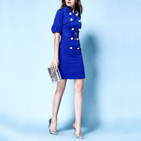 [Limited Edition] Rose 2016 Autumn Double Breasted Turn down Collar Dress Formal Slim OL One piece Dress