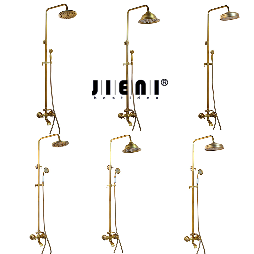 JIENI New Solid Brass Bathroom Surface Mount Brass Rainfall Shower Faucet Set Antique Brass with Handshower Tub Spout