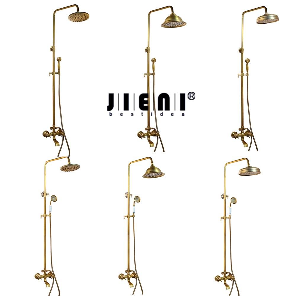 JIENI New Solid Brass Bathroom Surface Mount Brass Rainfall Shower Faucet Set Antique Brass with Handshower Tub Spout bathroom vintage shower wall surface mount brass rainfall bathtub shower faucet set antique brass with handshower tub spout