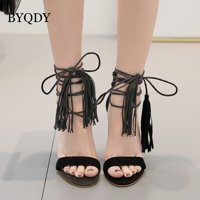 BYQDY Fashion Suede Black Sexy Women Tassel Summer Sandals Open Toe Zipper High Heels Stiletto Sandals Transparent Shoes Female in High Heels from Shoes