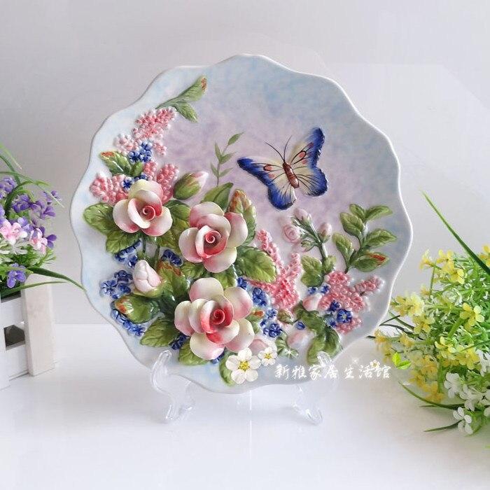 Ch artes de cer mica mariposa 3d rose de pared decorativos platos de porcelana platos - Platos decorativos pared ...