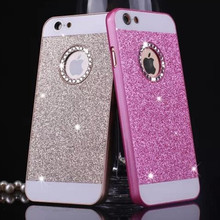 luxury Rhinestone Case for apple iphone 5 5s acrylic pink pc cover mobile phone accessories by bags Material i noble quality