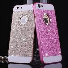 Luxo rhinestone caso para apple iphone 5s glitter pink tampa do pc acessórios do telefone móvel por nobre qualidade original i5 5 se eu