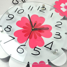 M.Sparkling Living Room Arts Wooden Creative Wall Clock Pastoral Flowers Silent Quartz Watch Home Decoration