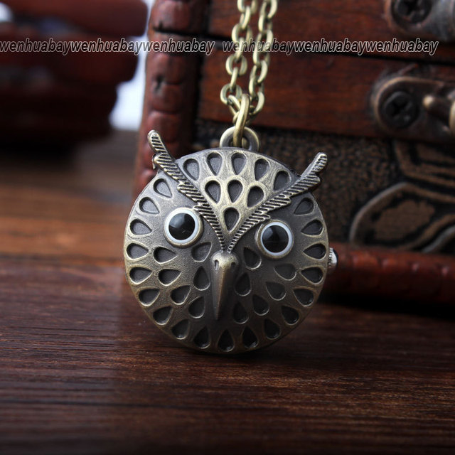 2015 Fashion Round Dial Vintage Bronze Cute Owl Necklace Quartz Pocket Watch Cha