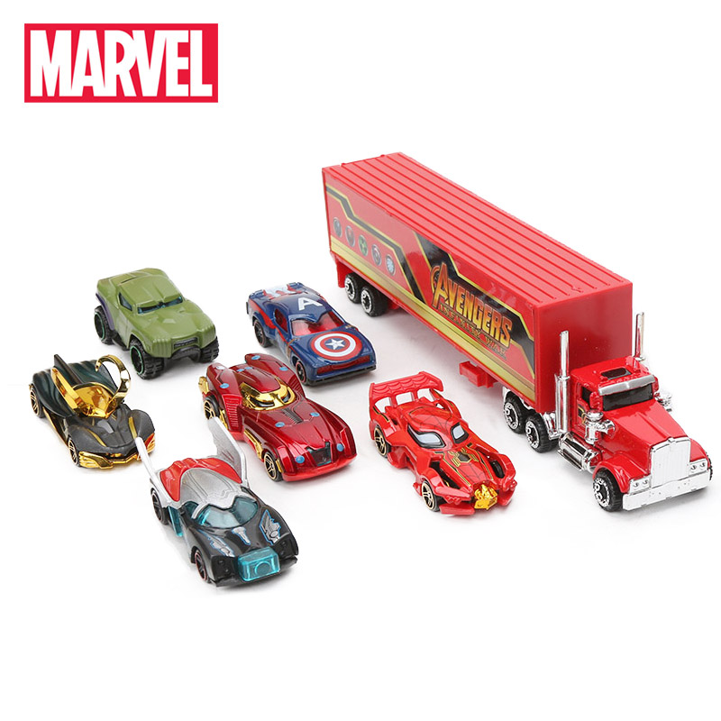 7-Marvel Toys Truck-Model Cars-Set Pack Spider-Man Hulk Avengers Superheros Ironman Captain-America