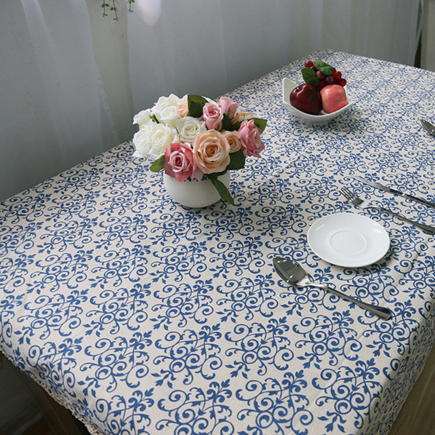 Vintage Blue White Chinese Style Classic Cotton Tablecloth High Quality Fabric  Waterproof Oilproof Fashion Garden Tablecloth 45 In Tablecloths From Home  ...