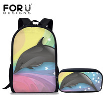 FORUDESIGNS 2Pcs/set Kids Cute Dolphin Star Print School Bags for Teeanger Girls Backpacks Middle Students Mochila