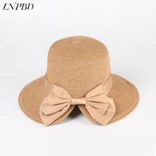 eb1b91669a7 2018 summer hot women s sun hat bow ladies straw hat fashion opening  fisherman straw caps Outdoor