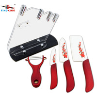 Flower Printed Chef Knife Set Kitchen Ceramic Knife Cooking Tool FINDKING Zirconia Blade Acrylic Holder Block
