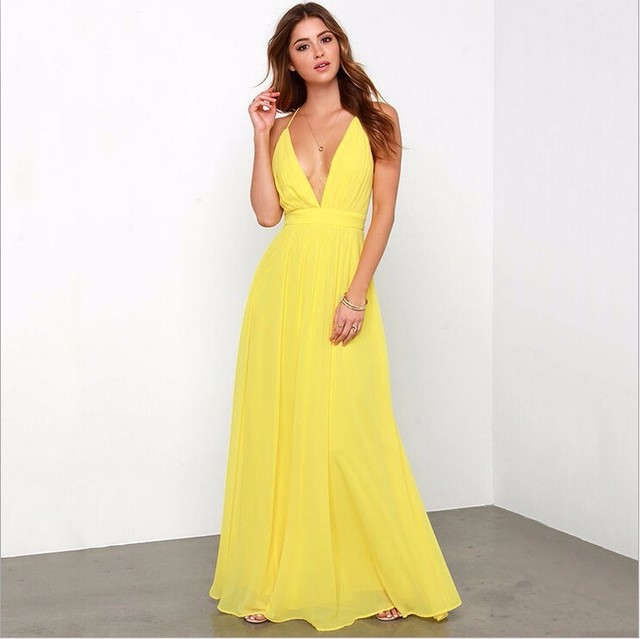 bc92dbd762 Simple Yellow Long Prom Dresses Formal Gowns Sexy V Neck A Line Long  Backless Floor Length Cheap Bridesmaid Gowns Under 100