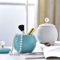 Ceramic Jewelry Box Makeup Organizer Desktop finishing Eyebrow Pencil Makeup Brush Ring Necklace Storage Jar