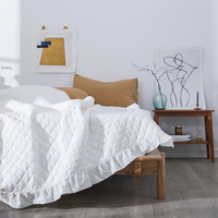 Solid Color White Pink Blue Quilted Bedspread Blanket 150*200cm 200*230cm for Double Bed