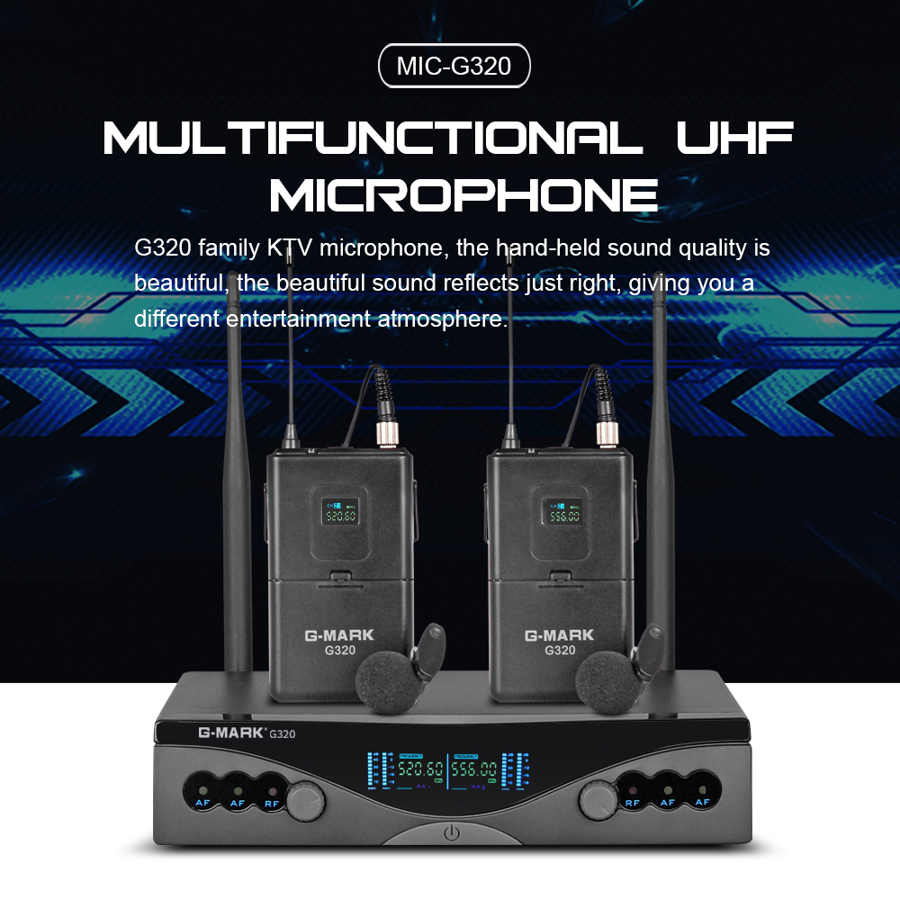 Image 4 - G MARK UHF Wireless Microphone System G320 Long Range Dual  Channel 2 Handheld Mic Transmitter Professional Karaoke Top  QualityMicrophones