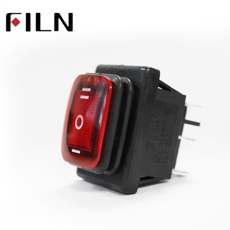Водонепроницаемый IP67 6-контактный тумблер, DPDT, T85, 30 А/250 В, светодисветодиодный 12 В, 220 В, 30 х22 мм