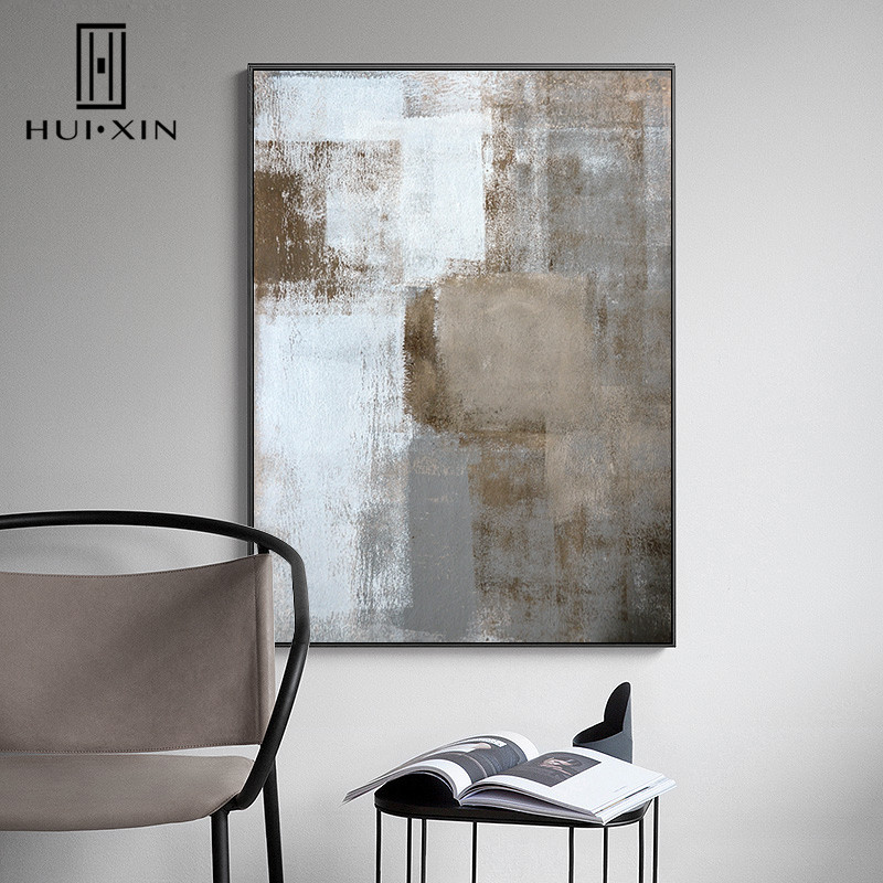 874c8433591b Nordic Abstract White Blue Brown Black Gray Color Lump Mixed Up Modern  Decorative Pictures For Home Decor Paintings-in Painting & Calligraphy from  Home ...