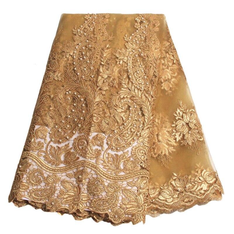 Золото Африканский Французский Кружевной Ткани Высокого Качества Африканский Тюль Кружевной Ткани Для Свадьбы Бисера Французский Кружевной Ткани AMY1315C-6