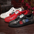 BIG Size 38-46 Skull Print Puck Shoes Luxury Brand Rivets Studded Low Top Men Casual Shoes Men Slip on Waterproof Shoes Hot