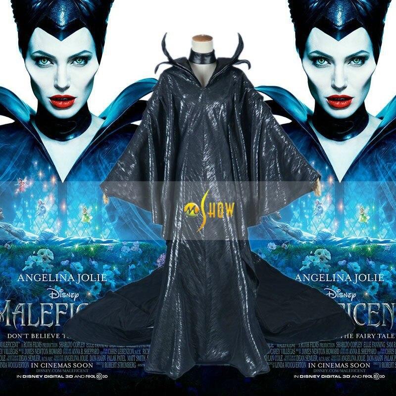 Maleficent Kostum Angelina Jolie Cosplay Kleid Mit Leder Kragen Die