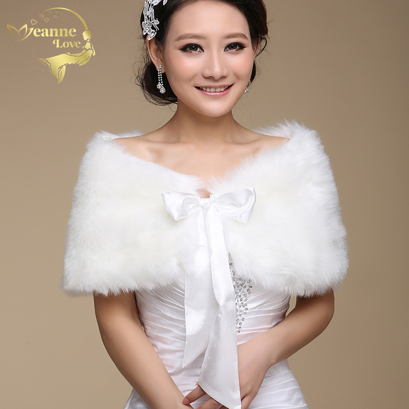 In Stock Fur Shawl Wedding Wrap For Formal Dress Cheongsam Married Outerwear Bridal Cape Autumn Winter Jacket Bolero OJ00165