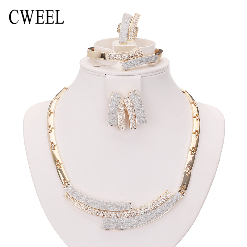 CWEEL Fashion Necklace Earrings Bracelet Ring Gold Plated Jewelry Sets For Women Wedding Imitation Crystal Holiday