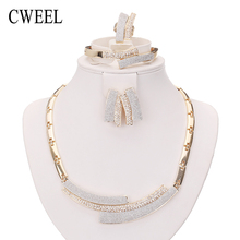 Cweel anillo collar pendientes pulsera de moda plateó sistemas de la joyería para las mujeres de imitación de cristal de la boda accesorios de fiesta