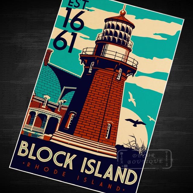 Block island vintage travel surf beach poster retro decorative diy wall sticker canvas paintings art home