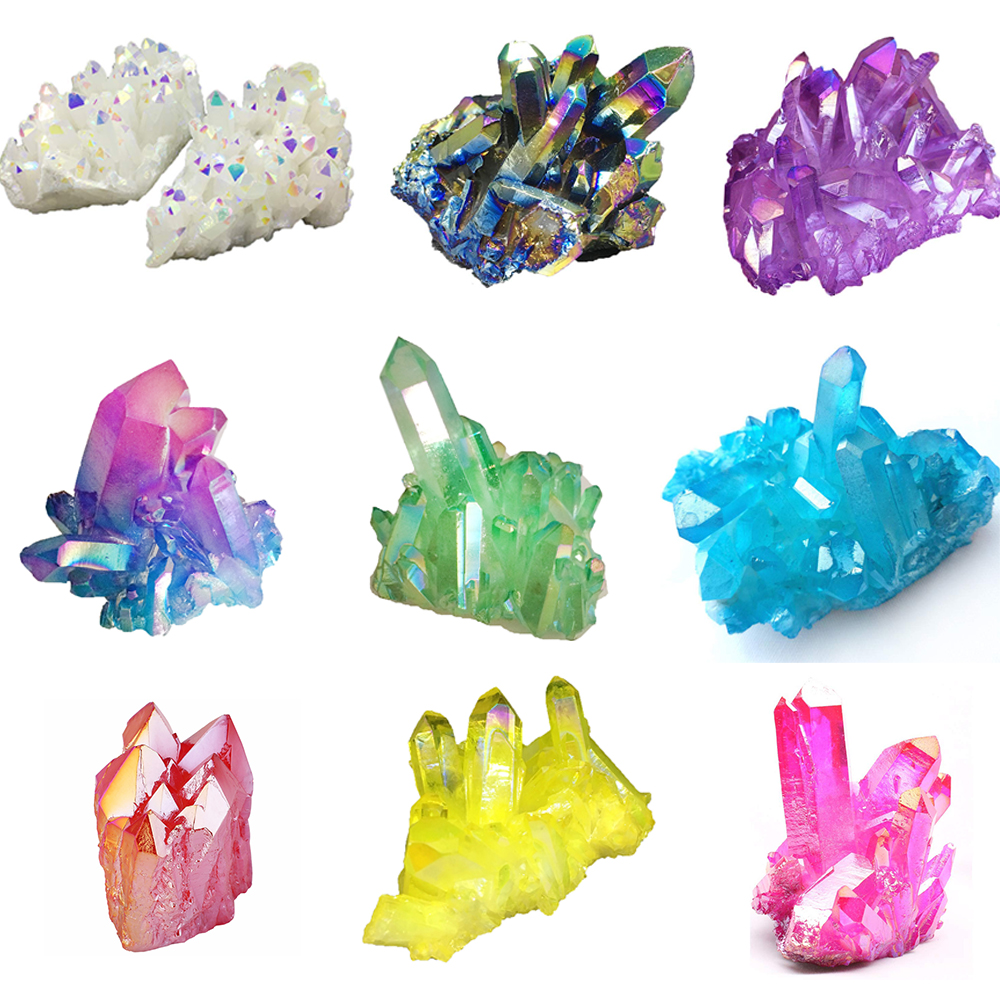 DS Natural Angel Aura Quartz Crystal Titanium Coated Cluster Minerals Specimen Reiki Healing Crystal Stone Home