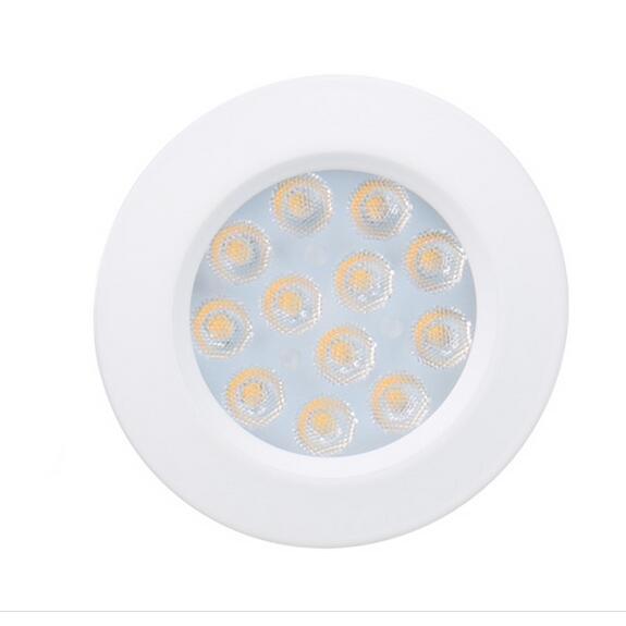 LED sous armoire lumières placard lumière 12 V 3 W reliant ronde bibliothèque cuisine Surface montée Downlights Puck vitrine lampe