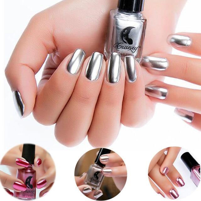 6ml Fashion Gold Silver Mirror Metallic Nail Polish Effect Varnish Glitter Powder