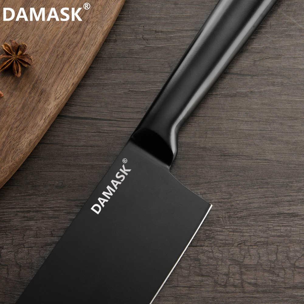 Şam Japon Mutfak Bıçak Seti şef bıçağı Keskin Santoku Cleaver Ekmek Dilimleme Yardımcı Soyma Nakiri Doğrama mutfak gereçleri
