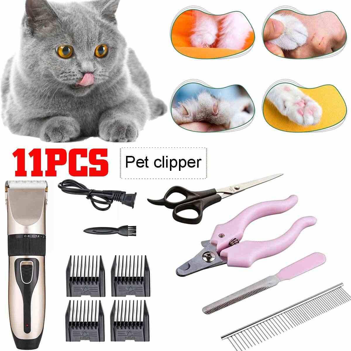 11 個充電式洗える猫犬の毛マニュアルクリッパーくしネイルファイルクリッパー動物トリマー電気ペットの毛カッター機