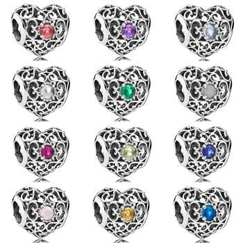 Month Signature Heart Birthstone With Crystal Charm Beads Fit Pandora Bracelet Bangle 925 Sterling Silver Bead Charm Diy Jewelry Рыбная ловля