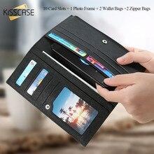Kisscase 11 слотов для карт кожа Телефонные Чехлы для iPhone 7 6 S 6 Plus 5S SE фото Фрам + молния Сумка кошелек сумка для 6 дюймов