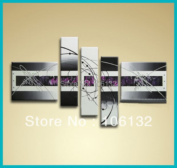 Framed 5 Panel Large High End Black White and Purple Wall Art ...