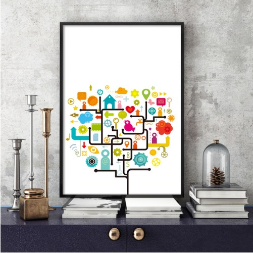 Us 8 41 46 Off Modern Abstract Cartoon Lines Symbols Format Print Poster Family Living Room Decoration Design Art Wall Painting No Framed In