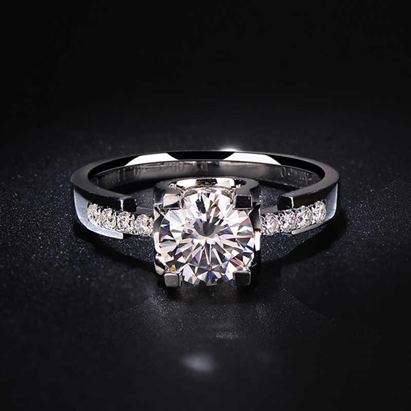 Nguyên chất Vàng 14K 1CT 2ct 3ct Moissanite Vòng VVS1 tròn chặt cưới, Kỷ Niệm Nhẫn phụ nữ