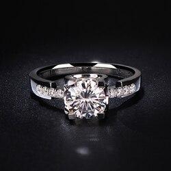 Czysty 14K białe złoto 1ct 2ct 3ct Moissanite pierścień VVS1 okrągły genialny oszlifowany diament zaręczynowy ślub pierścionek jubileuszowy dla kobiet