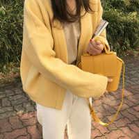 Femmes automne Hiver chandail manteau 2018 jaune tricoté Cardigans décontracté lâche grande taille élégant Pull Femme Hiver Sueter Mujer
