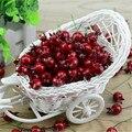 20 UNIDS Mini Fake Fruta de la Granada de Cristal Liso Pequeñas Bayas Estambre Flores Artificiales de color rojo cereza de La Boda de Navidad Decorativos