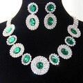 Cristalina austríaca plateada rodio regalos del partido nupcial promoción joyería elegante del collar del Rhinestone joyería de la boda aretes
