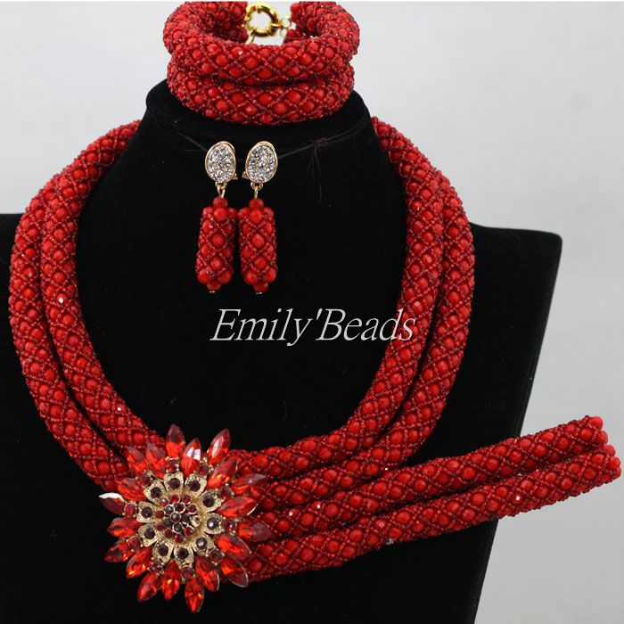 Gorgeous Red Crystal Wedding African Beads Women Jewelry Set Indian Handmade Jewelry Bridemaid Jewelry Set Free Shipping ALJ109 gorgeous faux crystal beads anklet for women