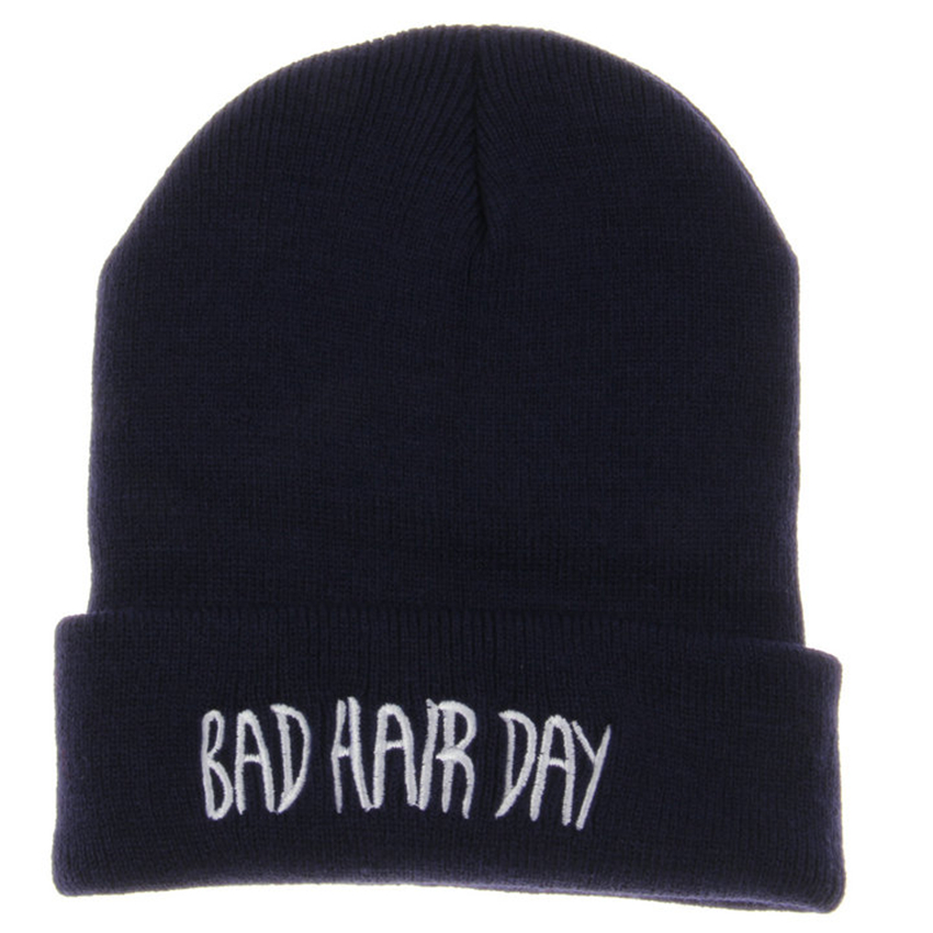Bad Hair Day Winter Hats For Women Men Cotton Unisex Adult Casual Skullies Beanies Hats Caps For Men Women Knitted Gorros Toca men s skullies winter wool knitted hat outdoor warm casual solid caps for men caps hats