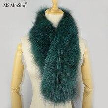 MS. MinShu вязаный шарф из лисьего меха, мягкий плюшевый шарф из лисьего меха, шарф из натурального меха, зимний длинный шарф из меха лисы с обеих сторон