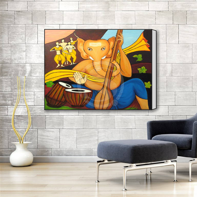 w6208 custom lord ganesha art oil painting classic poster print on canvas framed wall