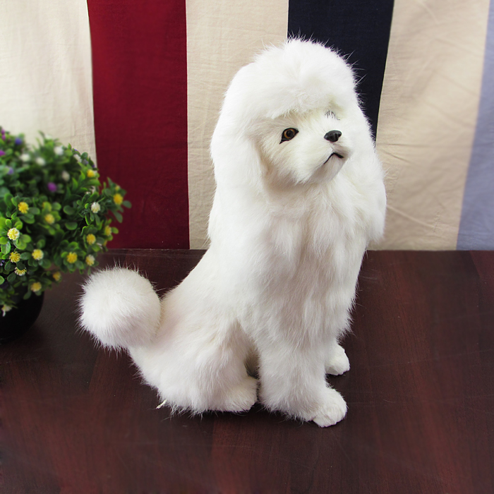 big simulation dog toy lovely white sitting poodle model gift about 13x25x33cm squatting pose large 20x32cm simulation poodle toy white fur dog model ornament photography prop home decoration gift h1402