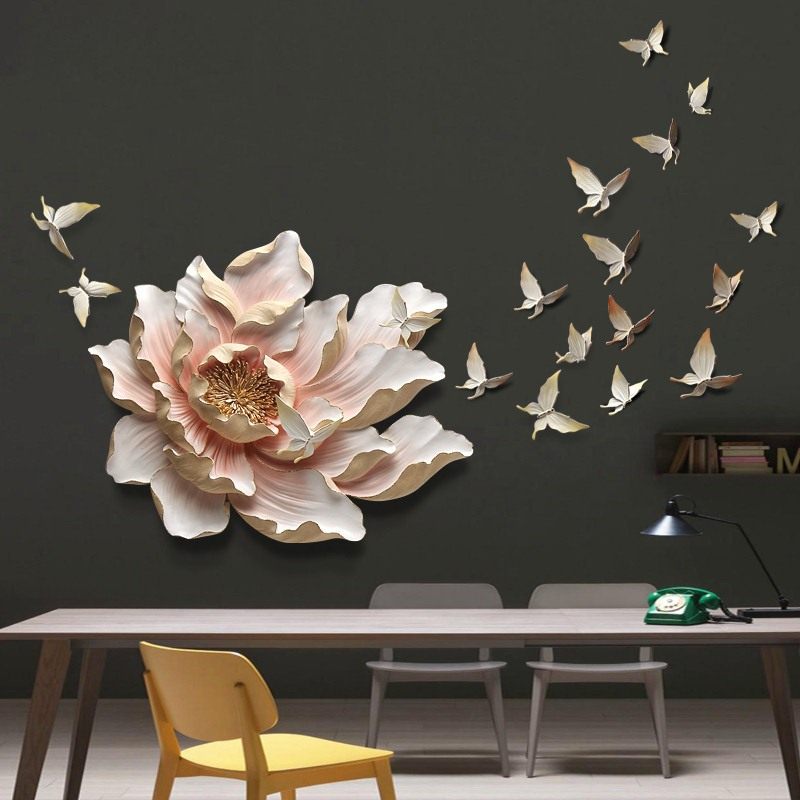3D Stereo Wall Hanging Resin Flower+Butterfly Home Decoration Crafts Restaurant Hotel Wall Ornament Livingroom Sofa Mural Decor