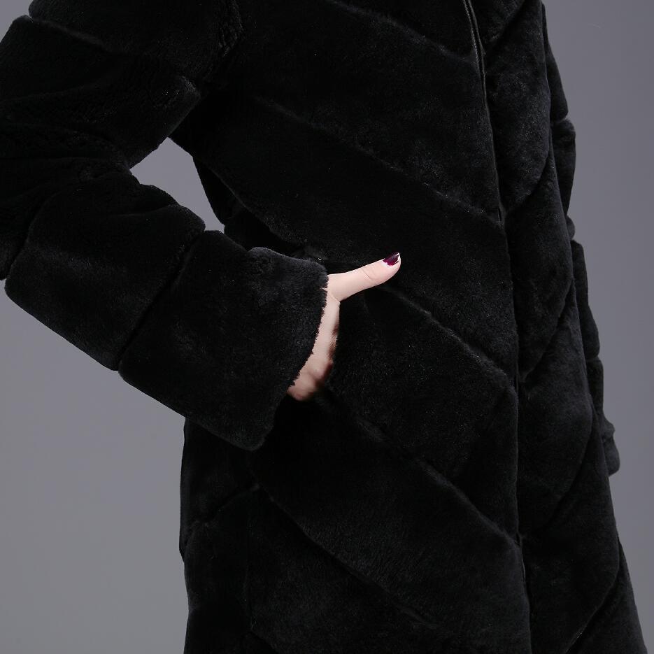 Et Automne Dames Chaud Mode D'hiver De Long Style 2018 Fourrure Réel Européenne Décision Lapin Manteau Nouveau Black Rue Naturel vO7dqP