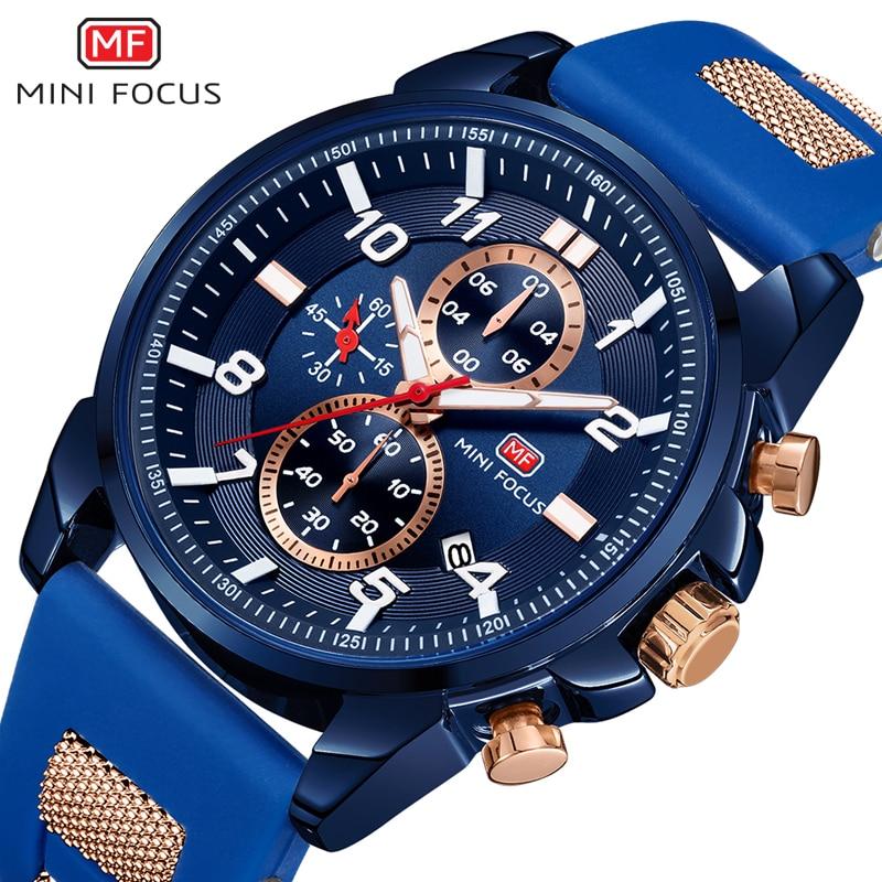 MINI FOCUS Wrist Watch Men Waterproof Fashion Luxury Brand Sport Clock Men's Wristwatch Quartz Relogio Masculino Silicone Strap